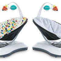 4moms rockaRoo bouncer review - plain and patterened covers shown