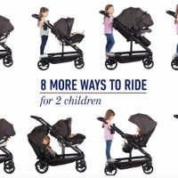 Image of the 8 different configurations of the Graco Uno2Duo Convertible stroller when it is in double stroller mode for 2 kids