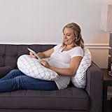 Image of the Boppy Slipcovered Pregnancy Body Pillow, Trellis, White
