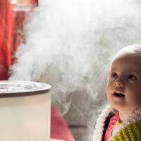Baby and humidifier