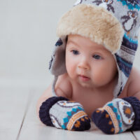 baby with hat and mittens